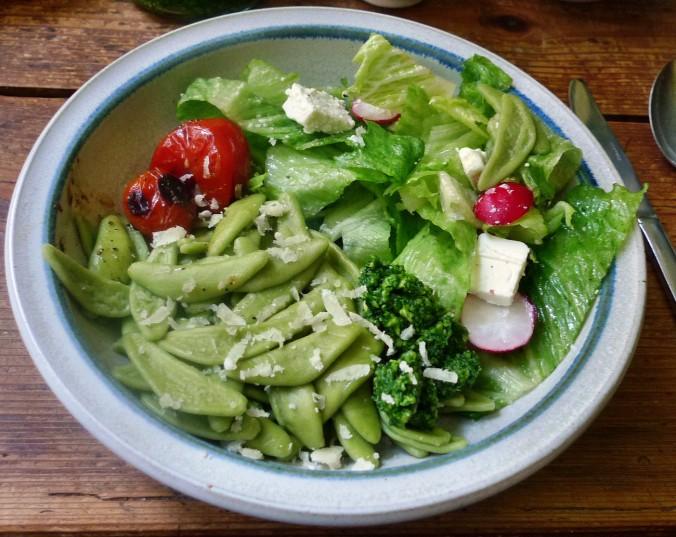 Grüne Nudeln,Bärlauchpesto,Salat -2.5.15   (5)
