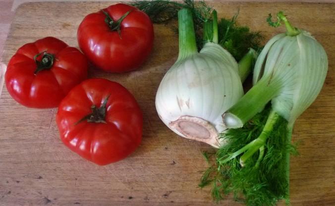 Kalte Kräutersuppe,gebratener Fenchel,Tomatensalat - 4.5.15   (3)