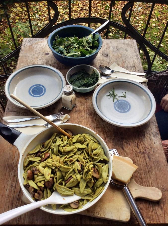 grüne Nudeln mit Champignon,Feldsalat -7.11.15   (6)