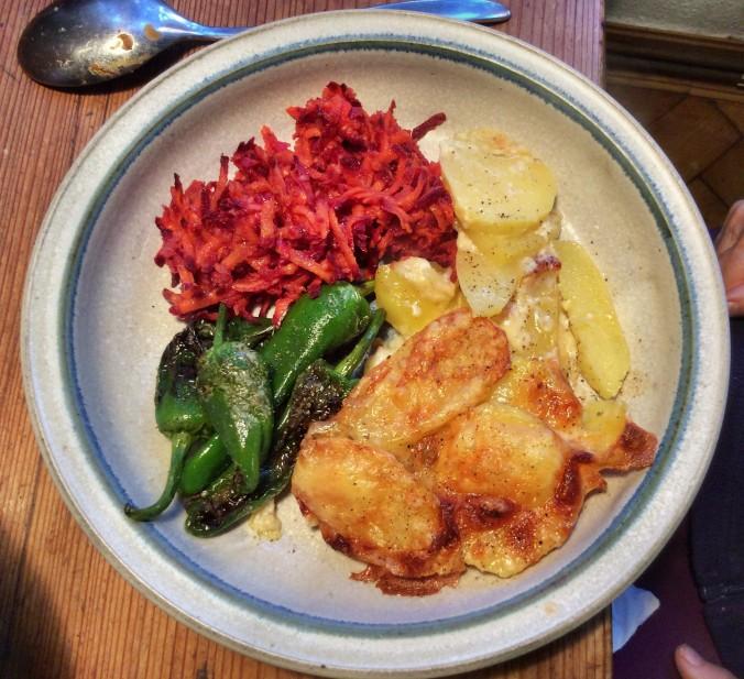 Kartoffelgratin,Pimientos,Möhrensalat -5.11 (1)