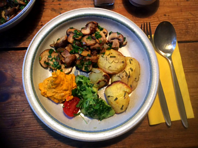 14.1.16 - Rosmarinkartoffeln,Champignon,Baba Ganousch,Avocado,Joghurtspeise (1)