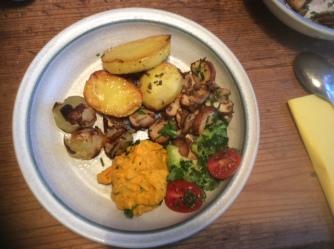 14.1.16 - Rosmarinkartoffeln,Champignon,Baba Ganousch,Avocado,Joghurtspeise (11)