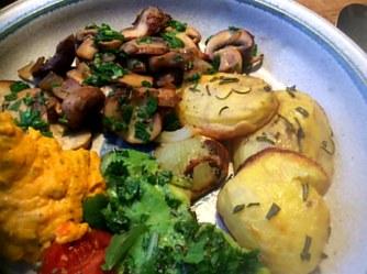 14.1.16 - Rosmarinkartoffeln,Champignon,Baba Ganousch,Avocado,Joghurtspeise (13)