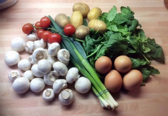 11.3.16 - Rührei mit Babyspinat,Champignons,kartoffeln,Frikadellen, (1c)