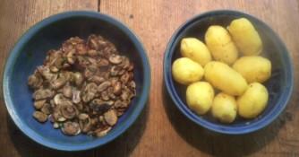 11.3.16 - Rührei mit Babyspinat,Champignons,kartoffeln,Frikadellen, (5a)