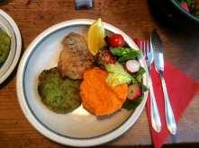 25.3.16 - Rotbarsch,Süßkartoffelpürree,Salat,Petersiliensoße (15)