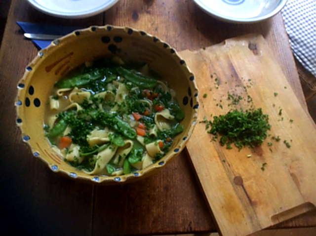 18.4.16  -  Gemüsesuppe ,selbstgemachte Nudeln (7)