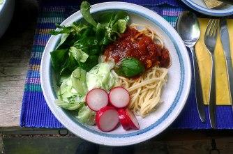 23.5.16 - Kamut-Spaghetti,Tomatensoße,Salate,vegan (18)