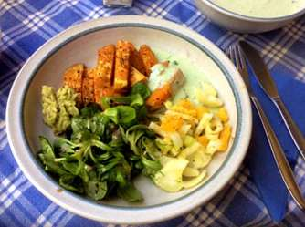 6.5.16 - Süßkartoffel,Fenchelsalat,Feldsalat,Guacamole,Joghurtdip (13)