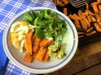 6.5.16 - Süßkartoffel,Fenchelsalat,Feldsalat,Guacamole,Joghurtdip (14)