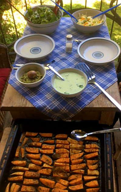6.5.16 - Süßkartoffel,Fenchelsalat,Feldsalat,Guacamole,Joghurtdip (2)