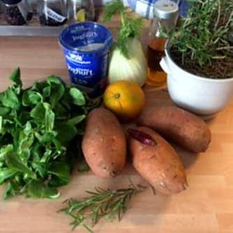 6.5.16 - Süßkartoffel,Fenchelsalat,Feldsalat,Guacamole,Joghurtdip (4)