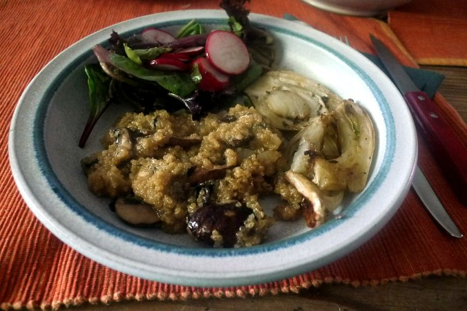24.6.16 - Quinotto,Champignon,gebratener Fenchel,Pflücksalat,Dessert (1)