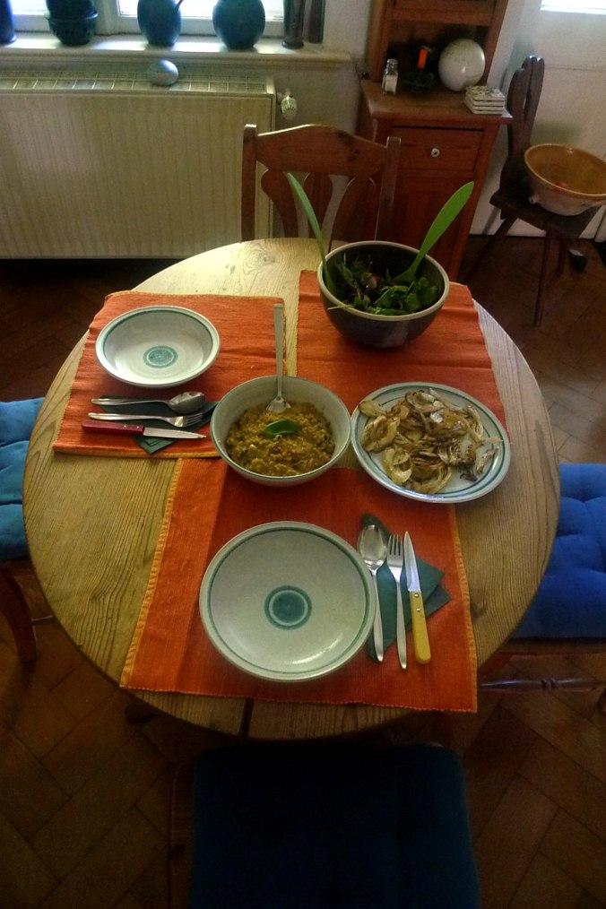 24.6.16 - Quinotto,Champignon,gebratener Fenchel,Pflücksalat,Dessert (2)