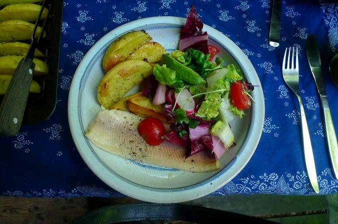 6.6.16 - Zitronenkartoffeln,Forelle,Salat (2)