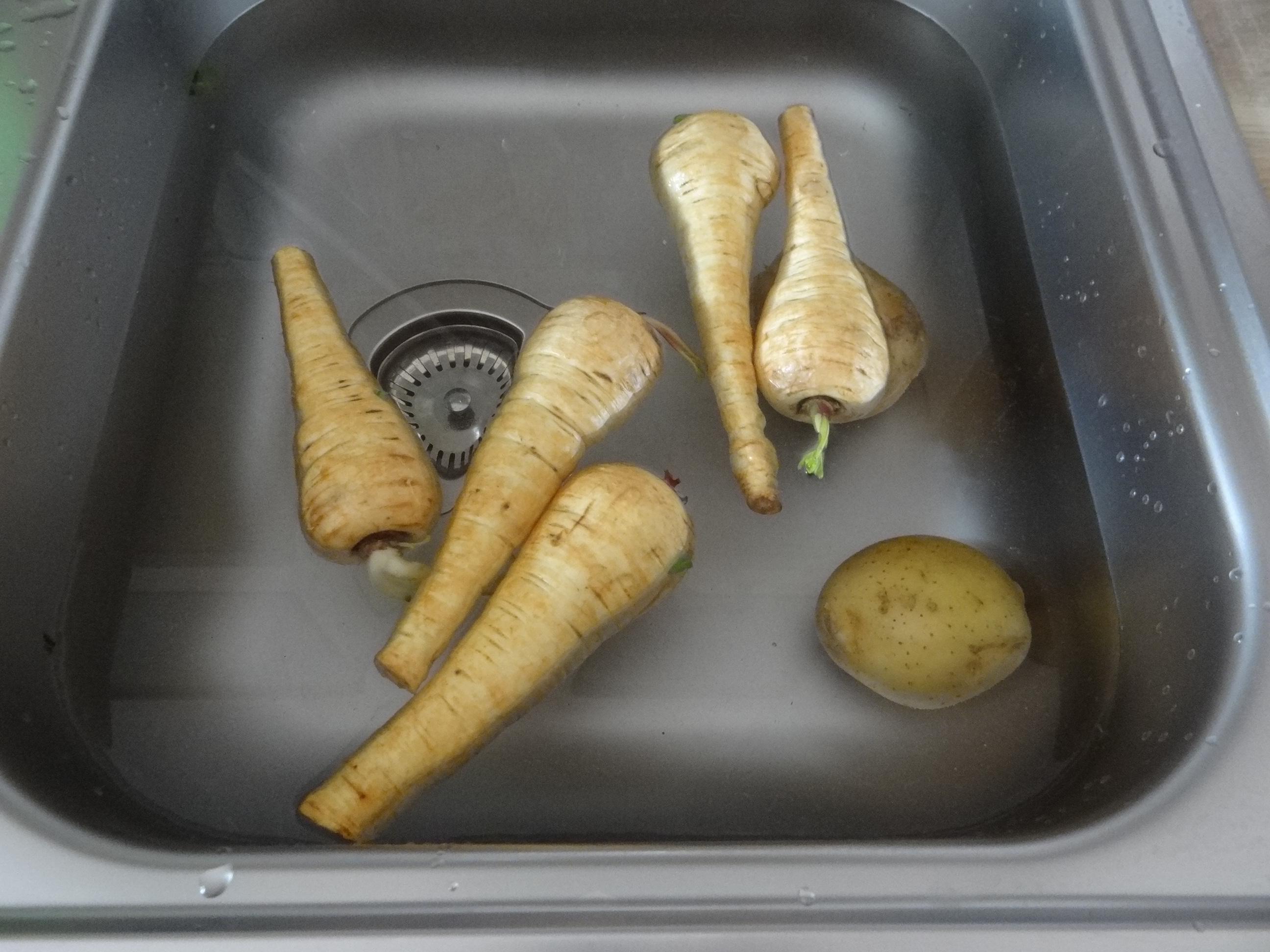 Pastinaken-Kartoffelstampf,Bleichsellerie Gemüse,Salat,Spiegelei (12)
