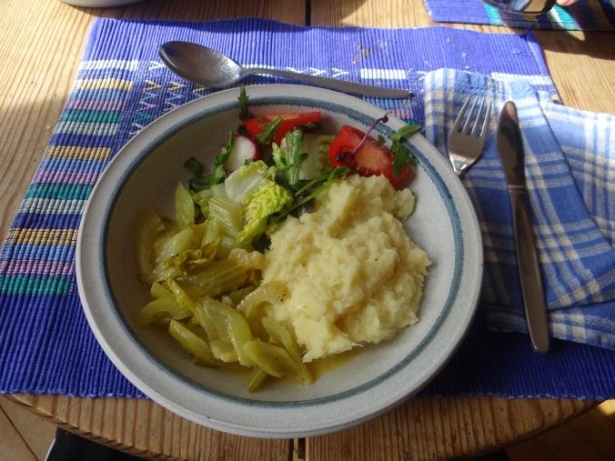 Pastinaken-Kartoffelstampf,Bleichsellerie Gemüse,Salat,Spiegelei (21)