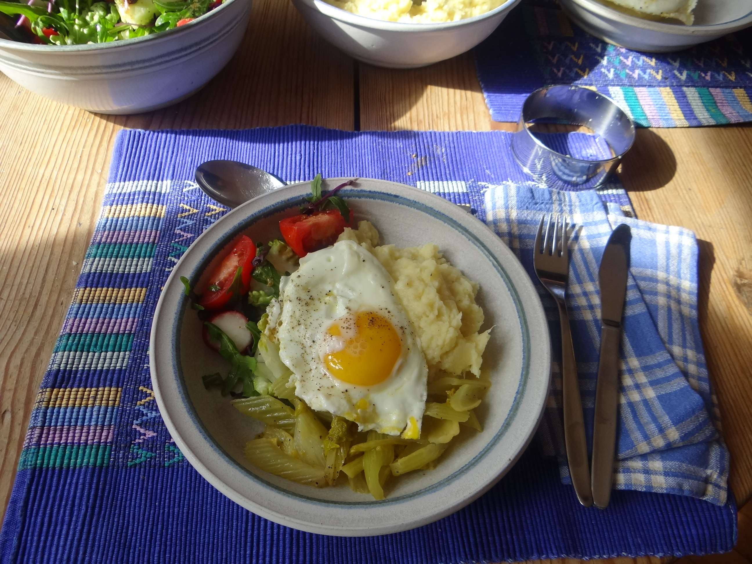 Pastinaken-Kartoffelstampf,Bleichsellerie Gemüse,Salat,Spiegelei (23)
