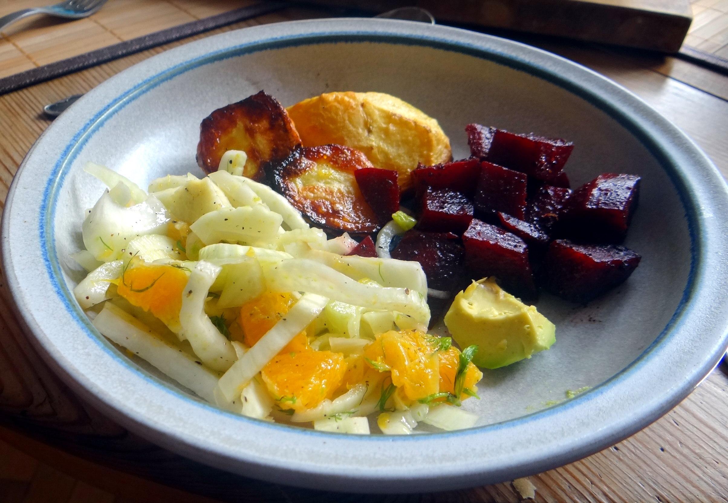 Rote Beete Gemüse,Ofenkartoffel,Fenchelsalat, (13)