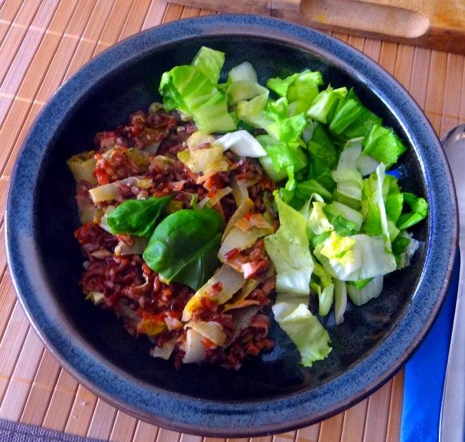 Chicoree-Schinkenpfanne,Roter Reis,Endiviensalat (1)