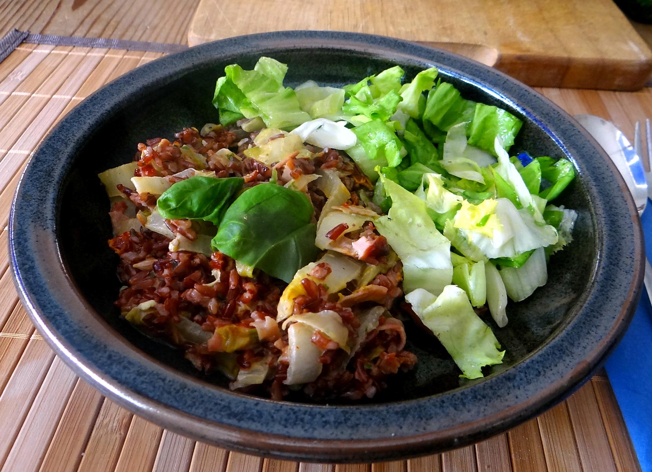 Chicoree-Schinkenpfanne,Roter Reis,Endiviensalat (19)