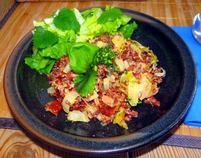 Chicoree-Schinkenpfanne,Roter Reis,Endiviensalat (2)