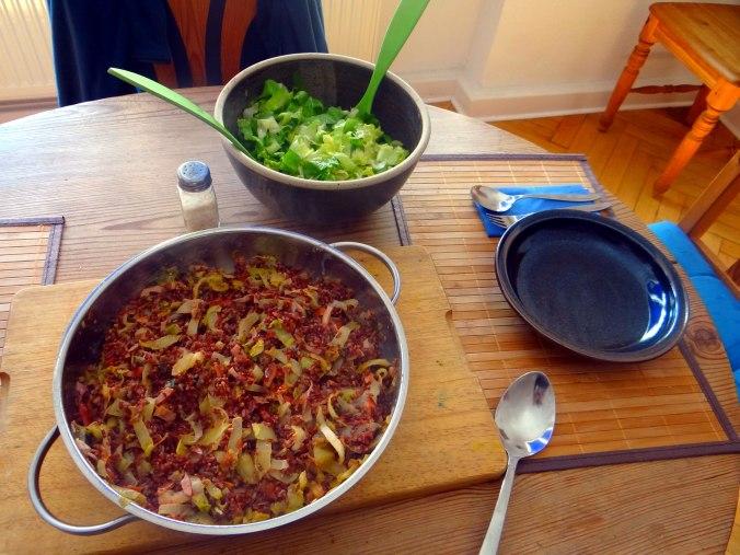Chicoree-Schinkenpfanne,Roter Reis,Endiviensalat (4)
