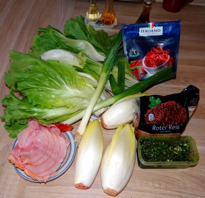 Chicoree-Schinkenpfanne,Roter Reis,Endiviensalat (5)
