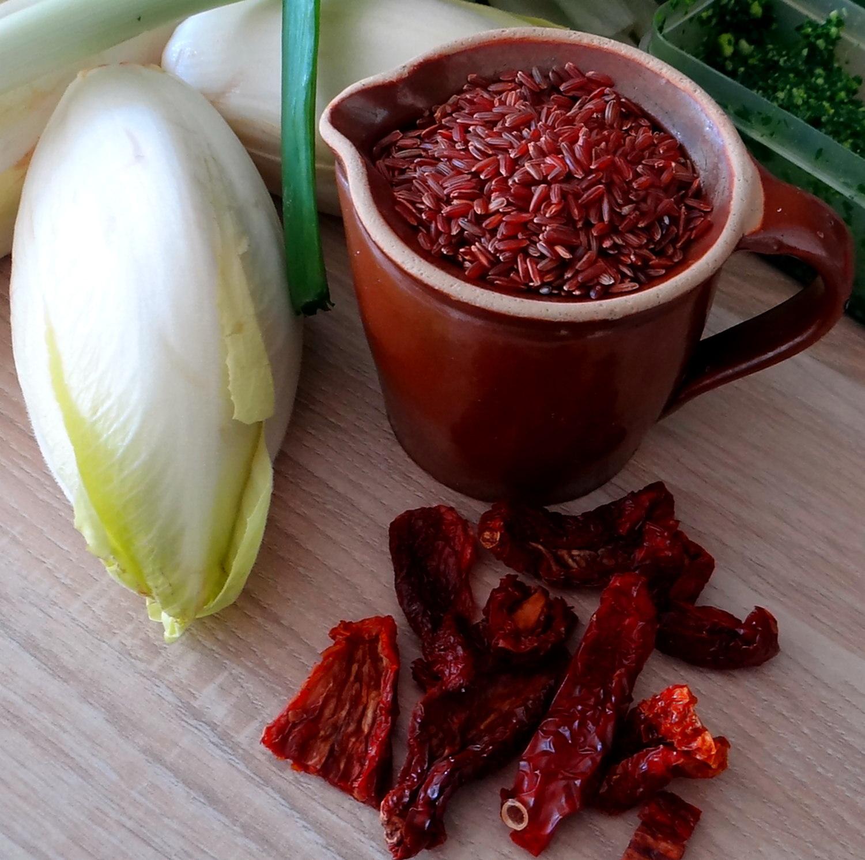 Chicoree-Schinkenpfanne,Roter Reis,Endiviensalat (7)