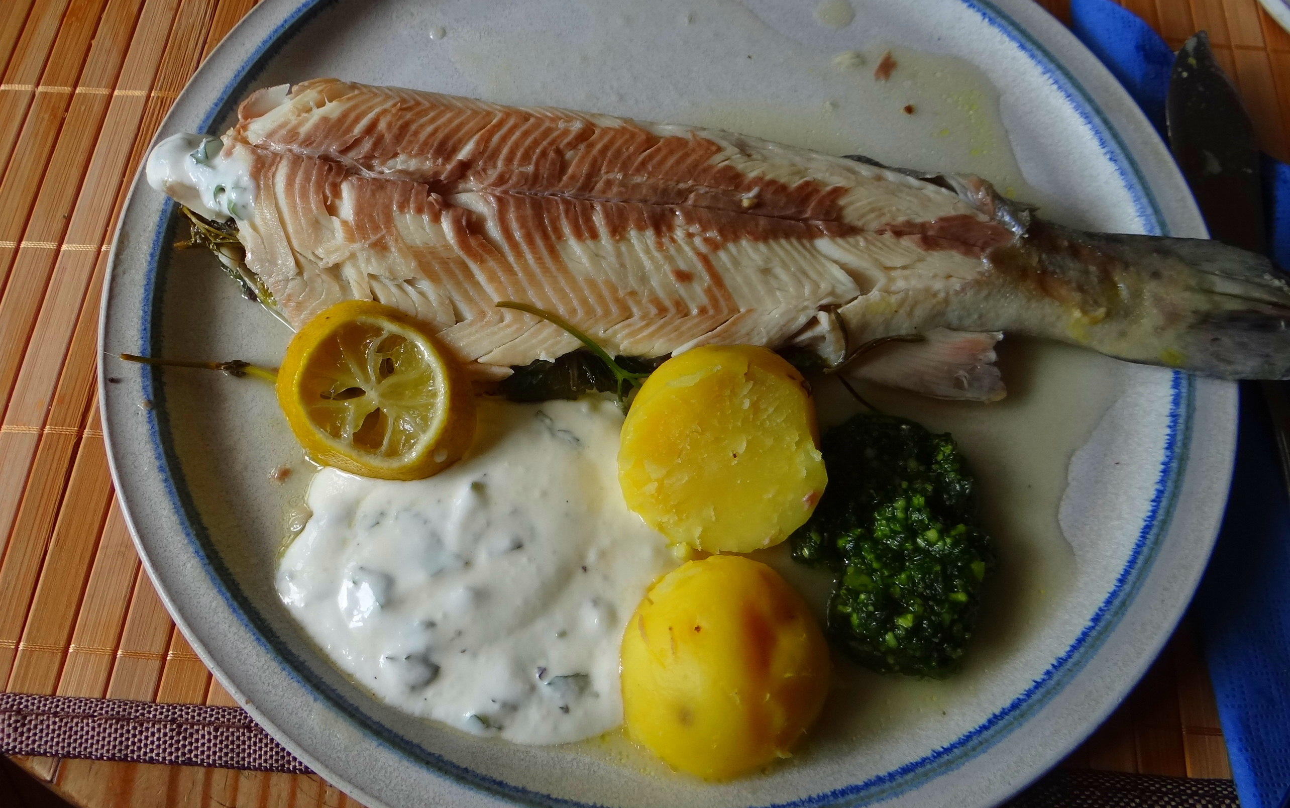 Forelle,Kartoffeln,Salat,Dips (3)