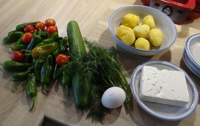 Gebackener Feta,Ofenkartoffel,Pimientos,Gurkensalat,Walleln (5)