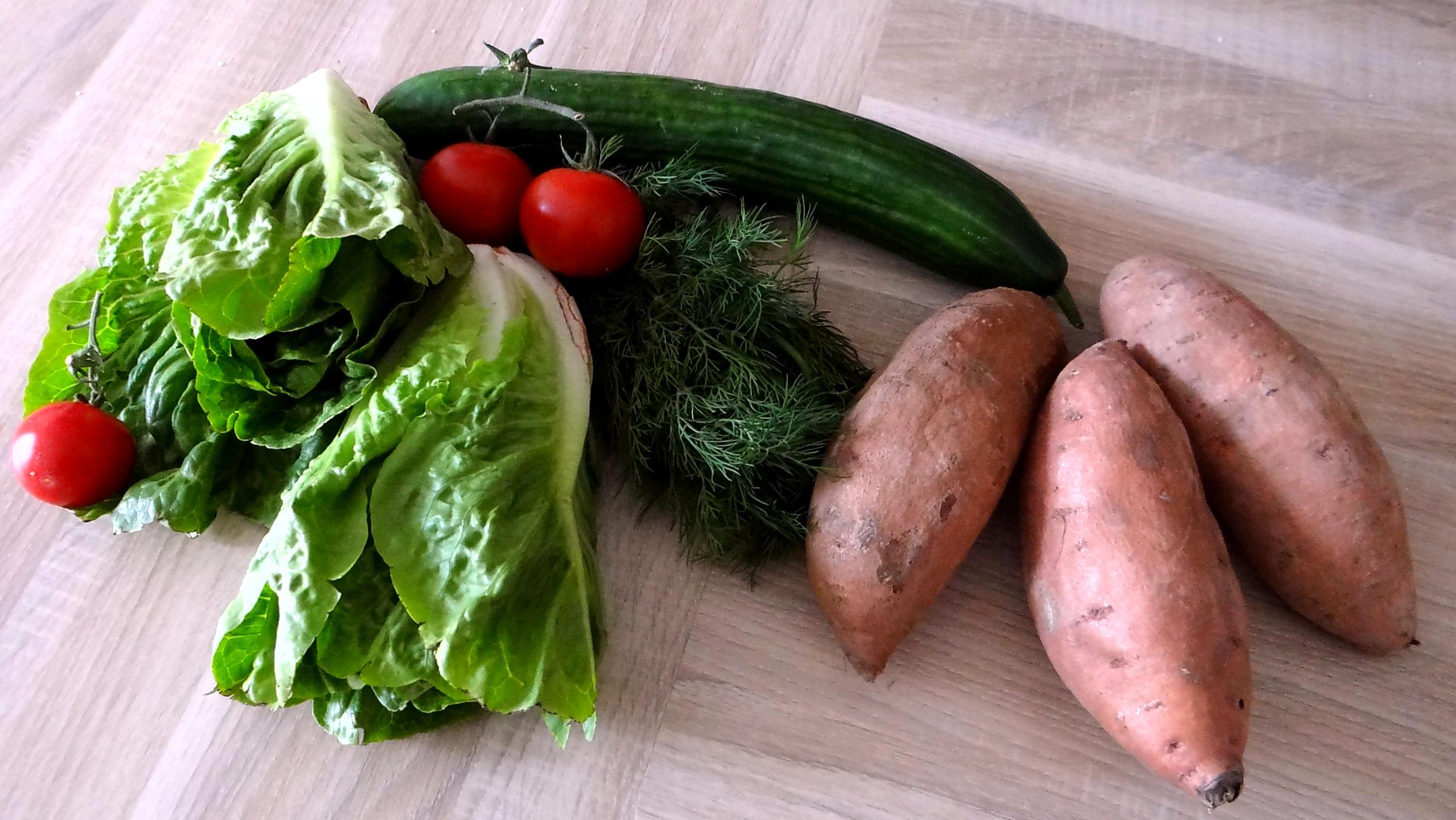 Süßkartoffel Pommes,Salate,Obszsalat (5)