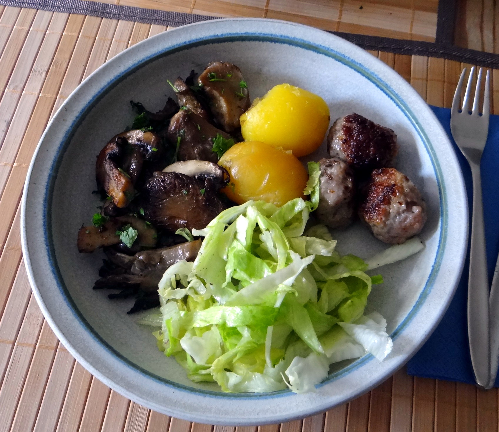 Shitake,Champignon,Hackbällchen,Eisbergsalat (1)