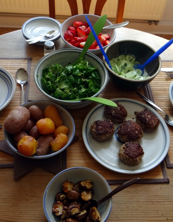 Frikadelle,Champignon,Gurkensalat,Feldsalat,Erdbeeren (4)
