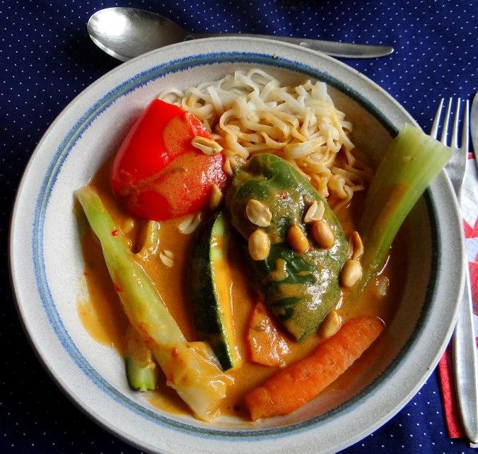 Gado Gado,Reisnudeln,gedämpftes Gemüse,Rührkuchen (26)