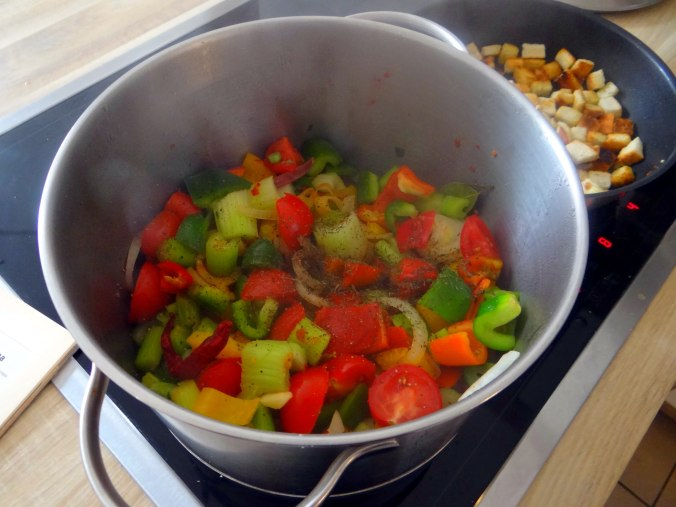 Minestra mit Bleichsellerie un Paprika,Obstsalat,vegetarisch (10)