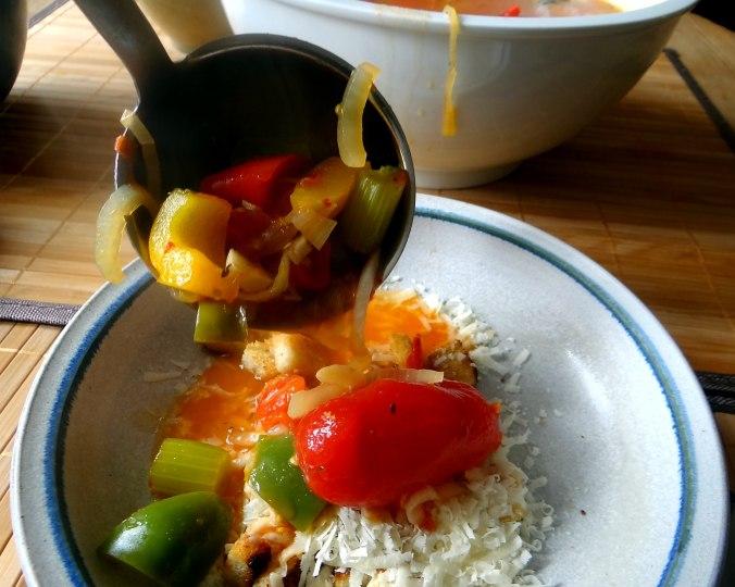 Minestra mit Bleichsellerie un Paprika,Obstsalat,vegetarisch (20)