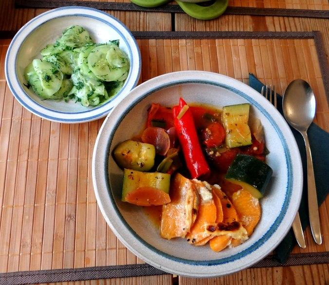 Ratatouille grob,Süßkartoffel Gratin,Obstsalat (2)