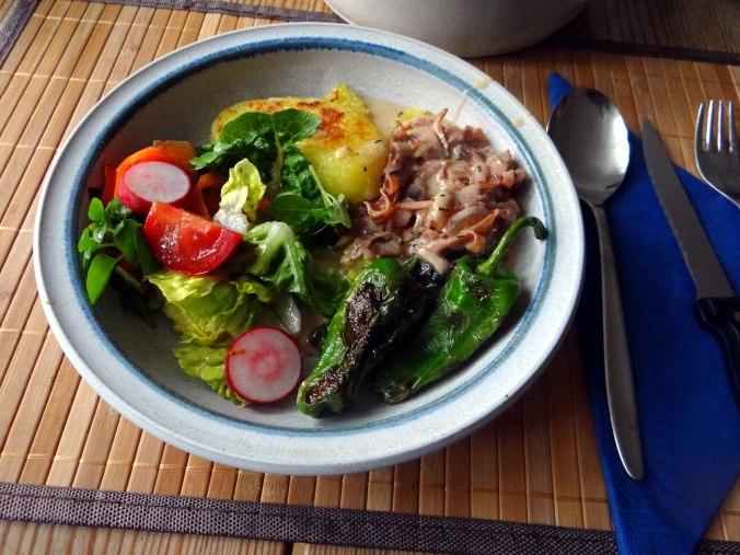 Gebratene Kloßscheiben,Schinkensauce,Salat,Erdbeeren (18)