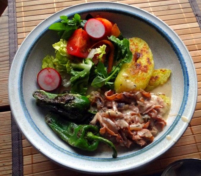 Gebratene Kloßscheiben,Schinkensauce,Salat,Erdbeeren (19)