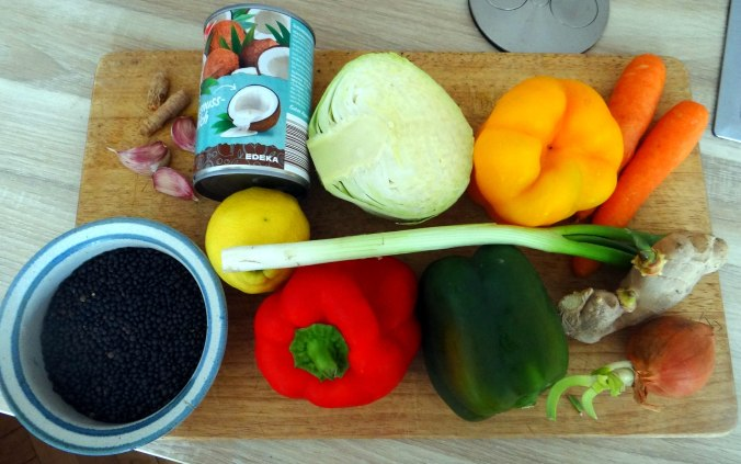 Gemüse in Kokosmilch mit Belugalinsen (4)