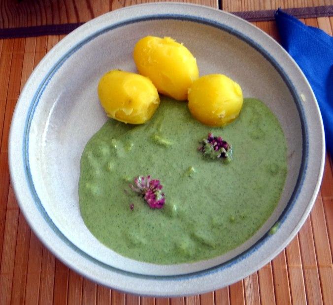 Grüne Soße aus Wildkräutern,Pellkartoffeln,Joghurtspeise mit Waldhe3idelbeeren (1)