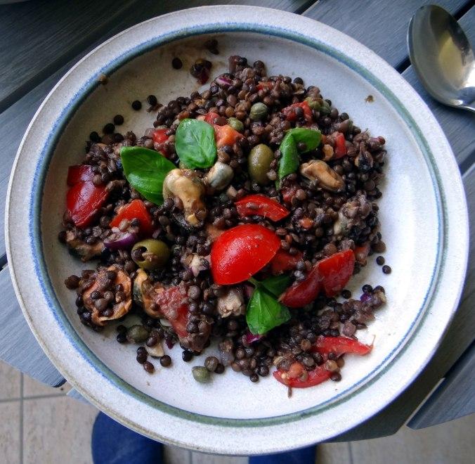 Muschel-Linsensalat,Gurkensalat,pescetarisch (1)