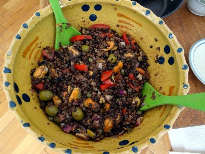 Muschel-Linsensalat,Gurkensalat,pescetarisch (2)