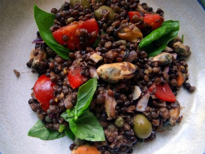 Muschel-Linsensalat,Gurkensalat,pescetarisch (3)