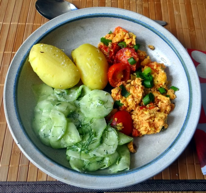 Rührei mit Tomaten,Pellkartoffeln,Gurkensalat,Erdbeeren,vegetarisch (1)