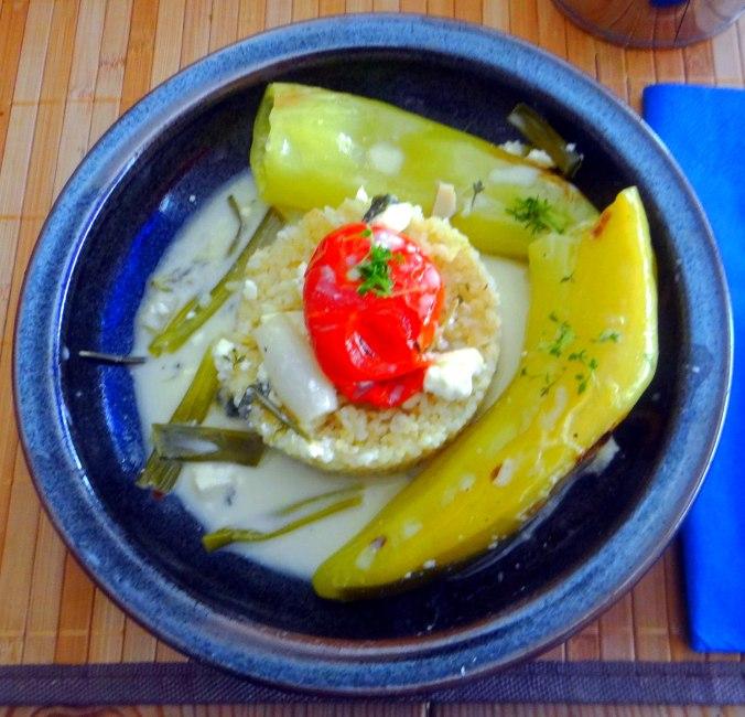 Spitzpaprika mit Wein,Bulgur,Aprikosenkompott,vegetarisch (15)