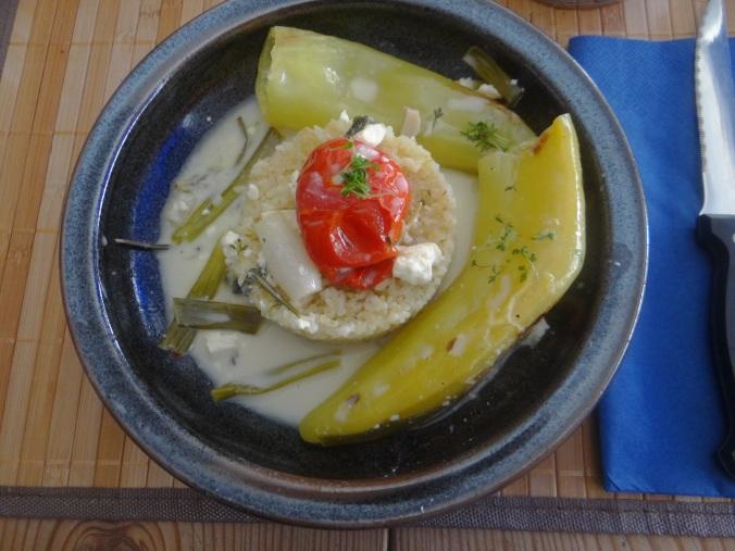 Spitzpaprika mit Wein,Bulgur,Aprikosenkompott,vegetarisch (16)