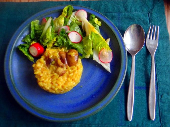 Champignon Risotto,Salat,vegetarisch (1)