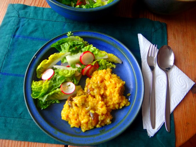 Champignon Risotto,Salat,vegetarisch (2)